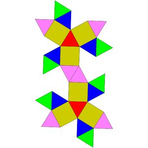 Gyroelongated triangular bicupola - Image: Johnson solid 44 net