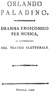 Italian title page of the libretto, Dresden 1792