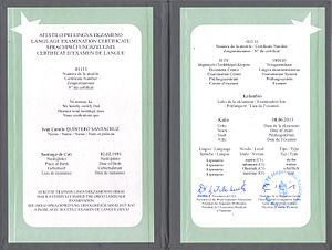 Esperantujo - Certificate of KER-exam