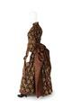 KLÄNNING Bestående av liv och kjol av mönstrad, skuren och oskuren brun silkessammet - Hallwylska museet - 89105.tif