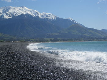 View from a beach off Beach Rd. in Kaikoura.