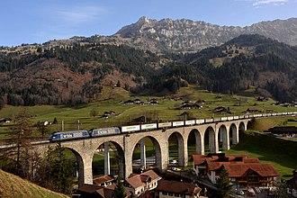 Lötschberg railway line - Kander viaduct (northern approach)