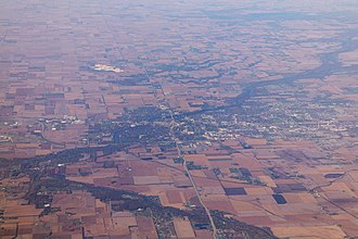 Kankakee, Illinois - Aerial view of Kankakee. The confluence of Iroquois River and Kankakee River is visible on the left edge of the frame.