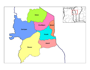 Location of the prefecture in the Kara Region