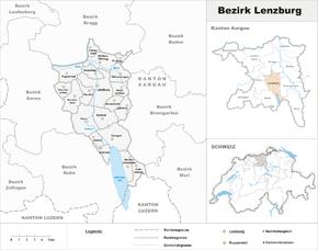 Karte von Bezirk Lenzburg