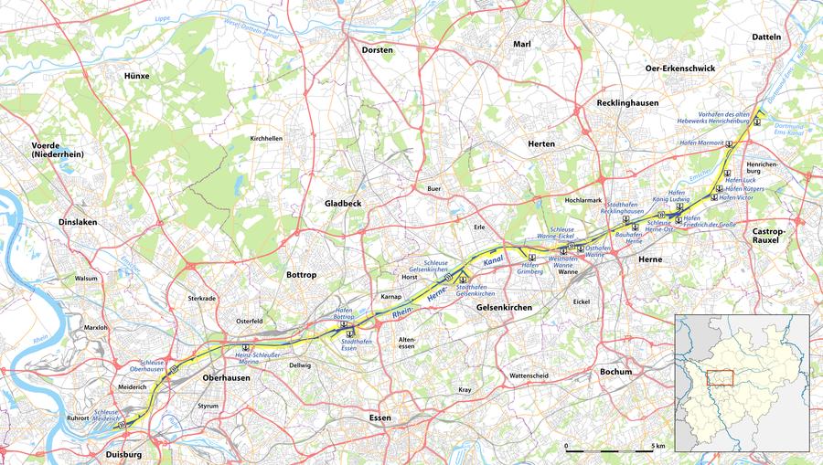 Karte des Rhein-Herne-Kanals