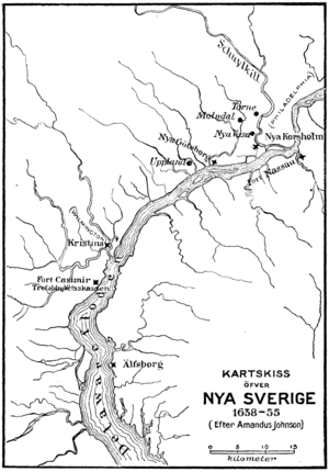 Fort Beversreede - Forts along the Delaware River in the 1600s. Short-lived Beversreede was supplanted by Fort Nya Korsholm (upper right)