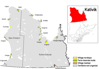 Kativik Regional Government - Territory of the Kativik Regional Government, Quebec.