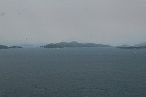Keats Island (British Columbia) - Keats Island (center) from the BC Ferry