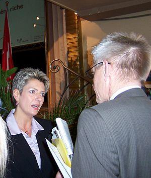 Karin Keller-Sutter - Snapshot of Karin Keller-Sutter being interviewed for television
