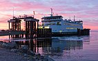 Kennewick ferry arriving at the Coupeville Ferry Terminal at sunrise.jpg