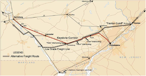 Keystone Corridor - Map of Keystone Corridor showing alternate freight routes.