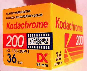 English: Kodachrome 200 reversal film package,...