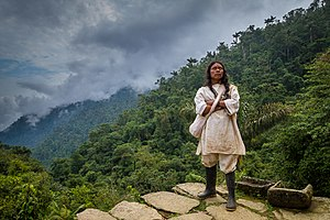 Kogi people - A portrait of a Koguis Tribesman on one of the terraces at Ciudad Perdida, Colombia.
