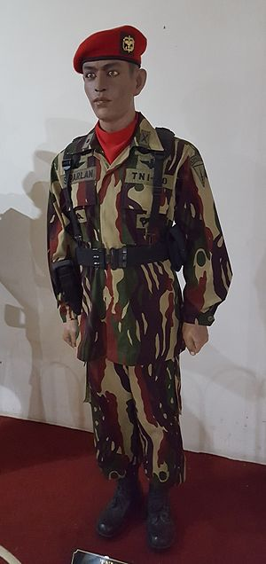 Kopassus - Uniform of Kopassus with the Darah Mengalir Camouflage Pattern (Loreng Darah Mengalir)