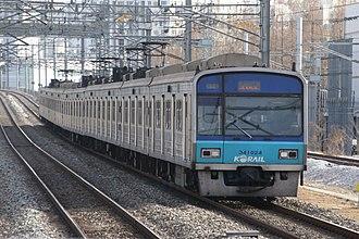 Seoul Subway Line 4 - Image: Korail Line 4 train at Geumjeong