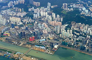 Kowloon Bay - An aerial view of Kowloon Bay with the runway of the former Kai Tak International Airport.