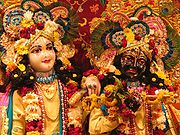Krishna-Balarama deities at the Krishna-Balarama Temple in Vrindavan