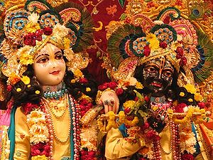 Balarama - Krishna-Balarama deities at the Krishna-Balarama Temple in Vrindavan