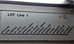 Manila Light Rail Transit System Line 1 - The old Main Line Route Map inside a 2nd generation LRV