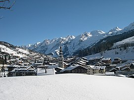 Panoramic view of La Clusaz in winter