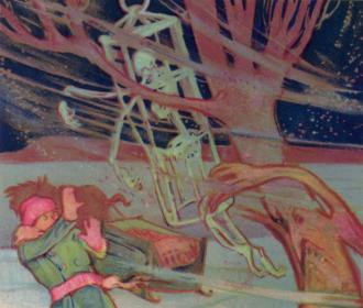 Marie-Josephte Corriveau - La Corriveau's skeleton terrorising a traveller one stormy night. Illustration by Charles Walter Simpson for the Légendes du Saint-Laurent, 1926.