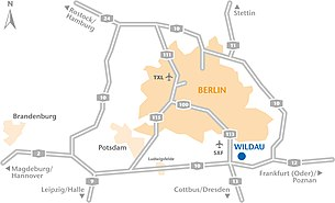 Location of the TH Wildau south of Berlin