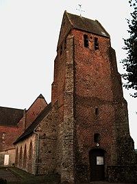 Laigny église fortifiée (façade ouest vue de nuit) 1.jpg