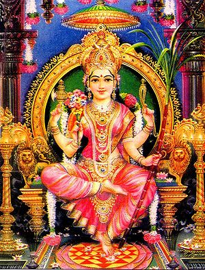 Shaktism - Sri Lalita-Tripurasundari enthroned with her left foot upon the Sri Chakra, holding her traditional symbols, the sugarcane bow, flower arrows, noose and goad.