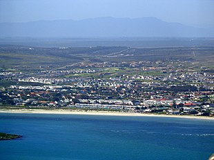 Langebaan as viewed from Postberg, West Coast National Park, with Engelsman se Baken mountains in the distance