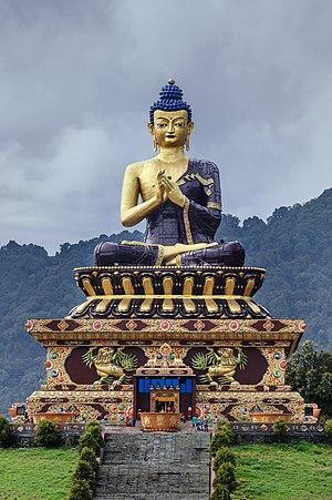 Large Gautama Buddha statue in Buddha Park of Ravangla, Sikkim - Front Telephoto Shot