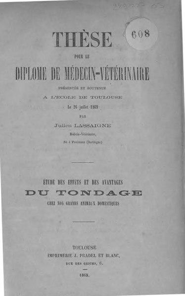 File:Lassaigne - Études des effets et des avantages du tondage chez nos grands animaux domestiques.djvu