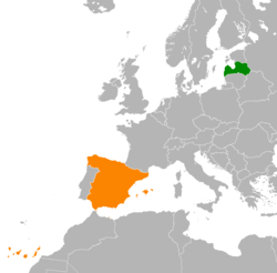 Map indicating locations of Latvia and Spain