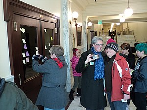 """Nicole LeFavour - At a demonstration inside the Statehouse to add the words """"sexual orientation"""" and """"gender identity"""" to Idaho's civil rights statutes ."""