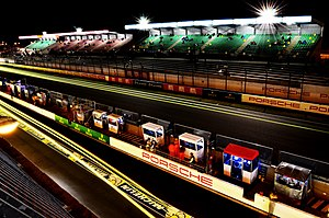Le Mans pit lane at night.jpg