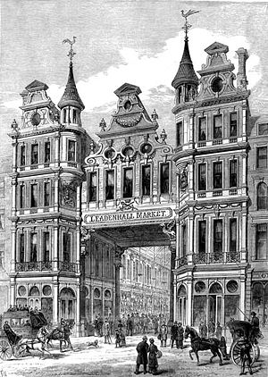 Leadenhall Market - Image: Leadenhall Market entrance Illustrated London New 1881
