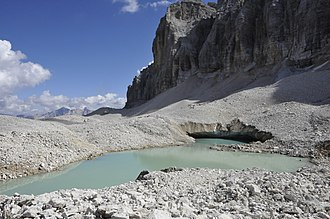 Scree - Scree-covered glacier, Lech dl Dragon, Italy