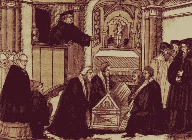 Бугенхаген проповедует на похоронах Лютера