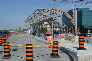 Viva Purple - Leslie Street Rapidway station under construction in May 2012