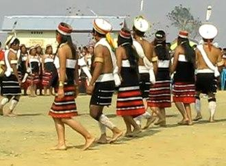 Liangmai Naga - Liangmai youths performing folk dance during Road Show in Peren, Nagaland.