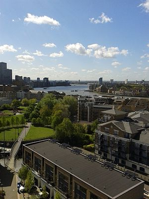 Limehouse - Limehouse Reach seen from above Limehouse Marina, with Ropemakers' Fields in the foreground.