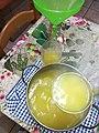 Limoncello appena fatto - l'imbottigliamento Freshly made Limoncello - bottling.jpg