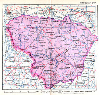 Lithuanian Soviet Socialist Republic - 1940 Soviet map of the Lithuanian SSR