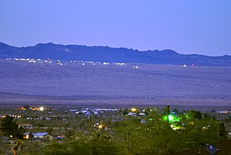 Marine Corps Air Ground Combat Center Twentynine Palms - Newest training facility is directly adjacent to Landers, California, seen here at evening twilight.
