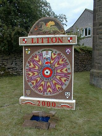 Litton, Derbyshire - Image: Litton well dressing 002924 391f 1a 93