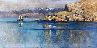 Maritime landscape with mountains