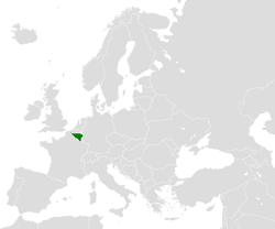 Location of Wallonia in Europe