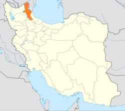 Map of Iran with Ardabīl highlighted