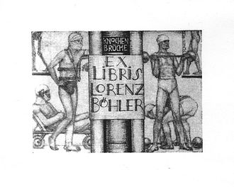 "Lorenz Böhler - Lorenz Böhler's Exlibris showing his book ""Die Technik der Knochenbruchbehandlung"" (""Treatment of Fractures"") and patients doing work out in an exercise room."