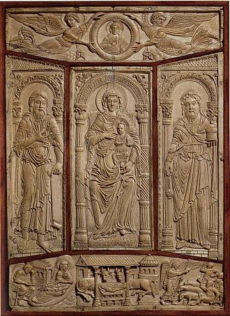 Codex Aureus of Lorsch - The ivory panels from the front cover